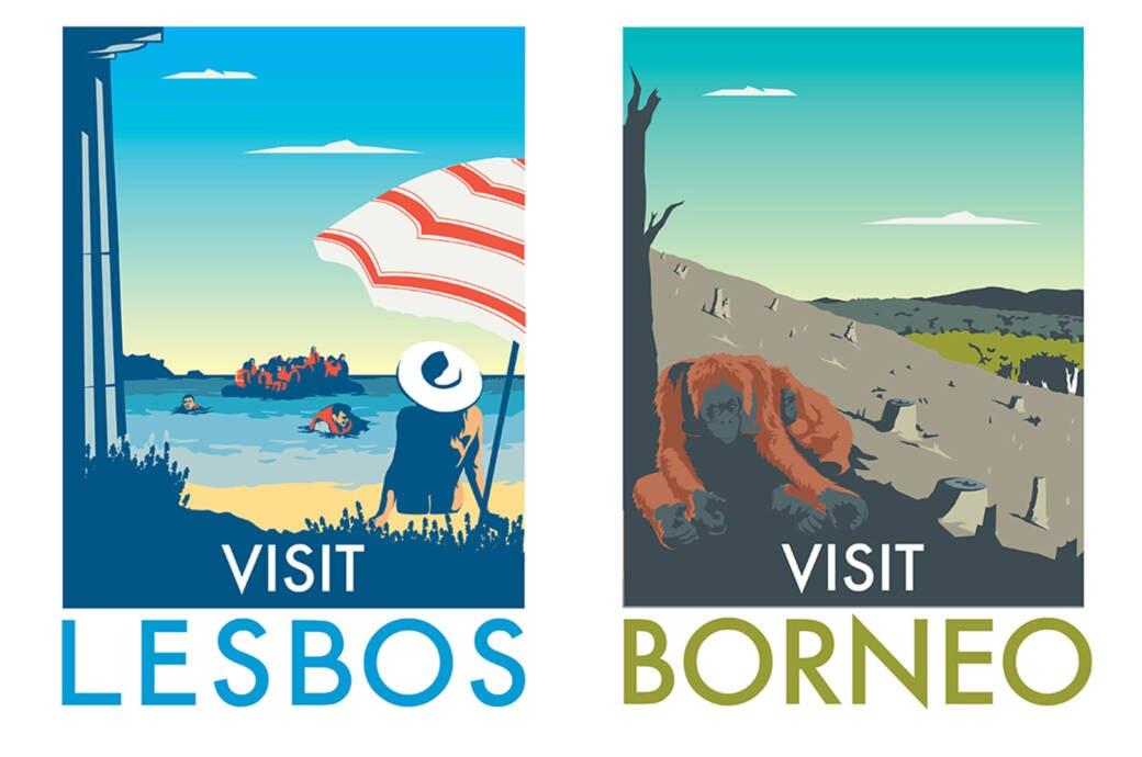 MONK ungeschönte Plakate von Urlaubsorten