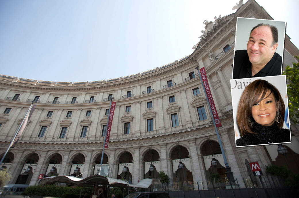 James Gandolfini, Whitney Houston, Hotel Boscolo Exedra Roma