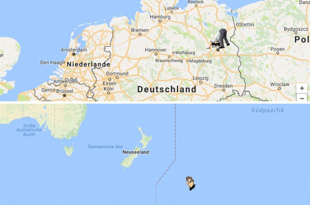 Antipoden Karte