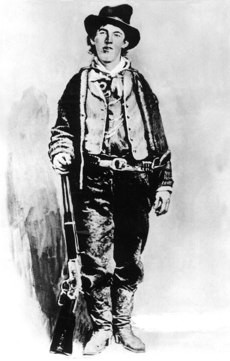 Zeitgenössische Darstellung des legendären amerikanischen Western- und Revolverhelden Billy the Kid