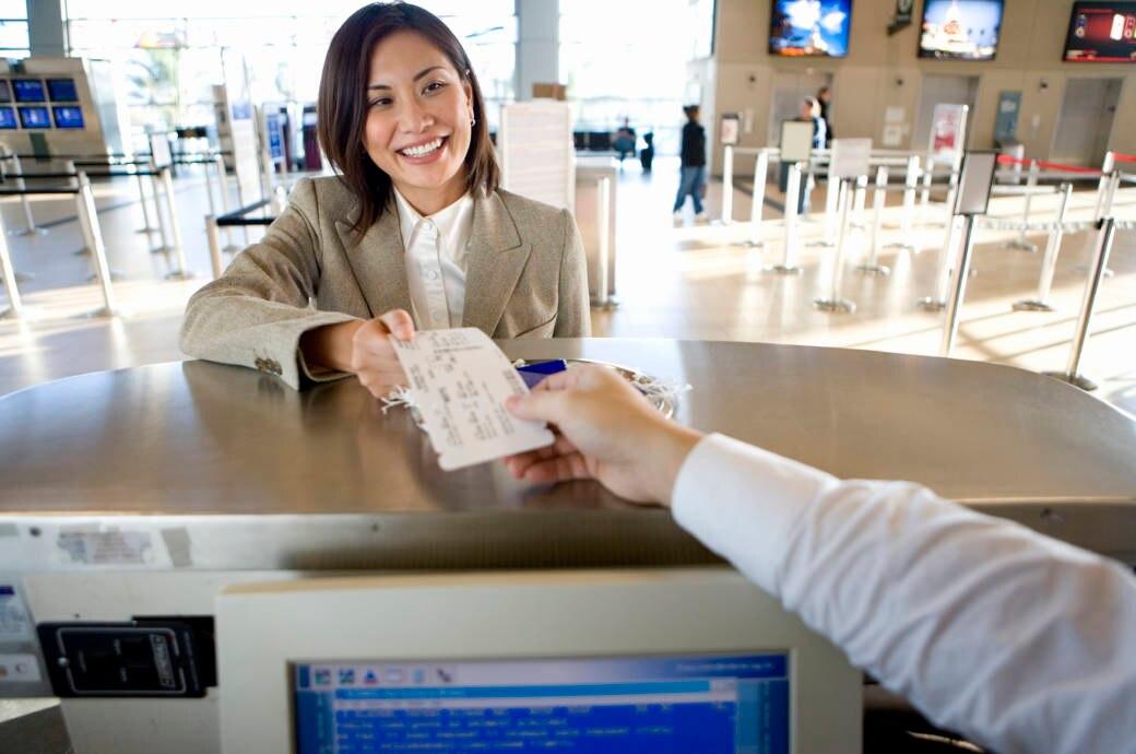 Check in, Flughafen, Frau