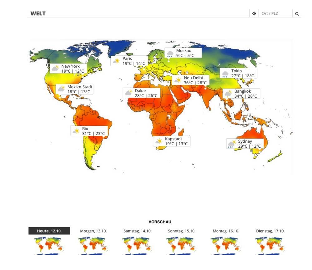 Wetterkarte, Wetter, Travelbook