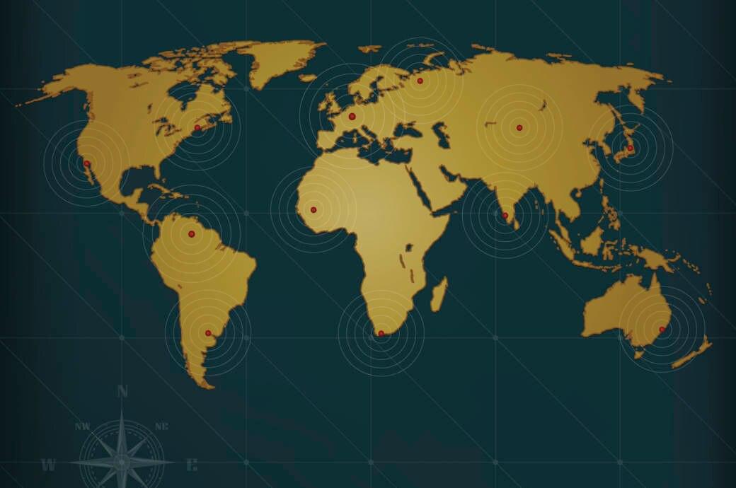 Hauptstadt-Quiz, Weltkarte