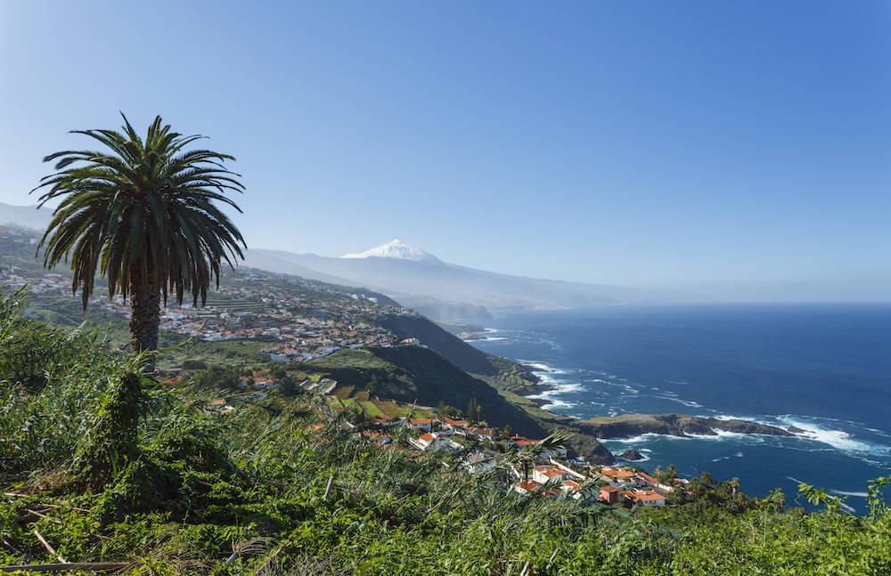 Die grüne Küstenlandschaft Teneriffas mit dem Teide im Hintergrund