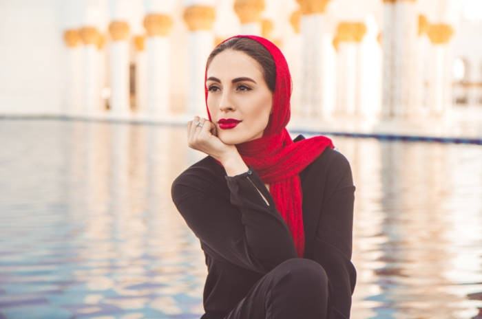 Fashion woman in grand mosque in Abu Dhabi