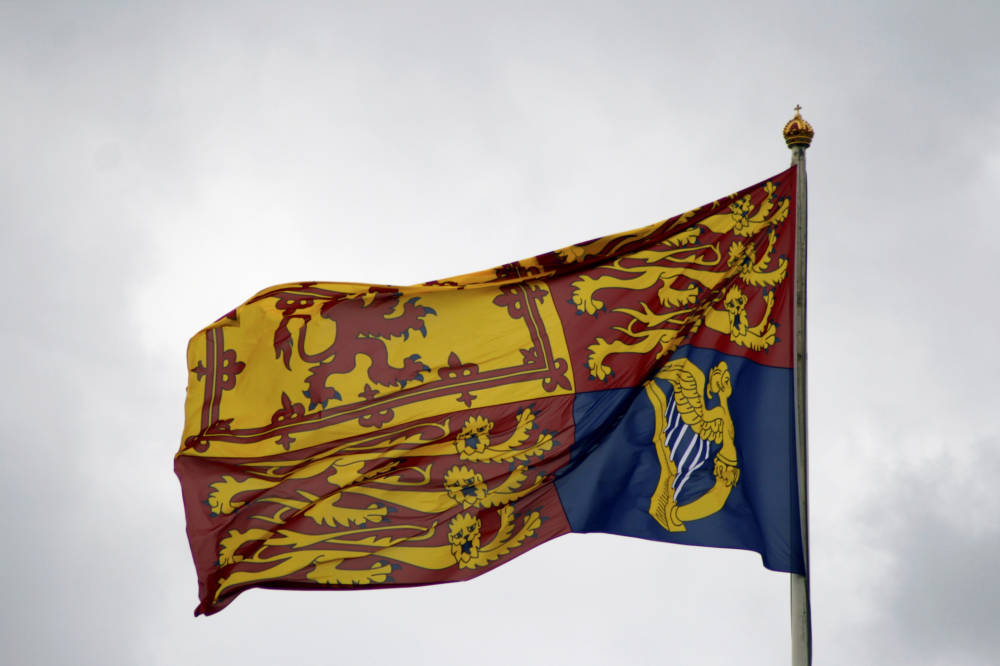 Flagge, Royal Standard, Buckingham Palace, London, Queen