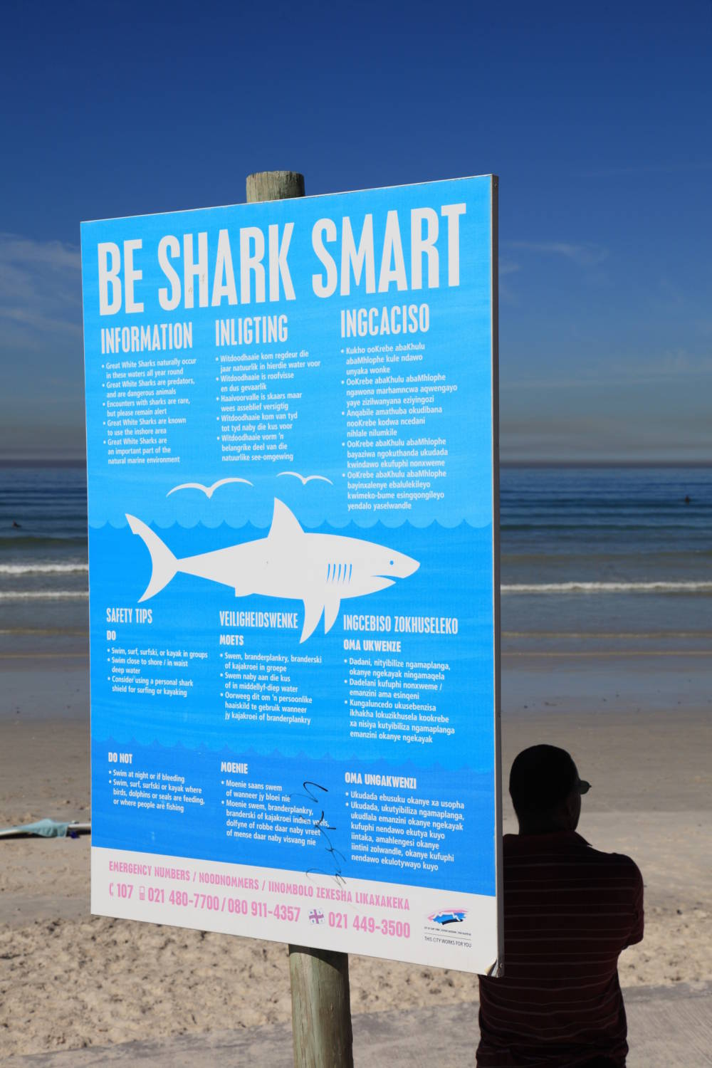 South Africa, Muizenberg, Surfers Corner. Information about white sharks.