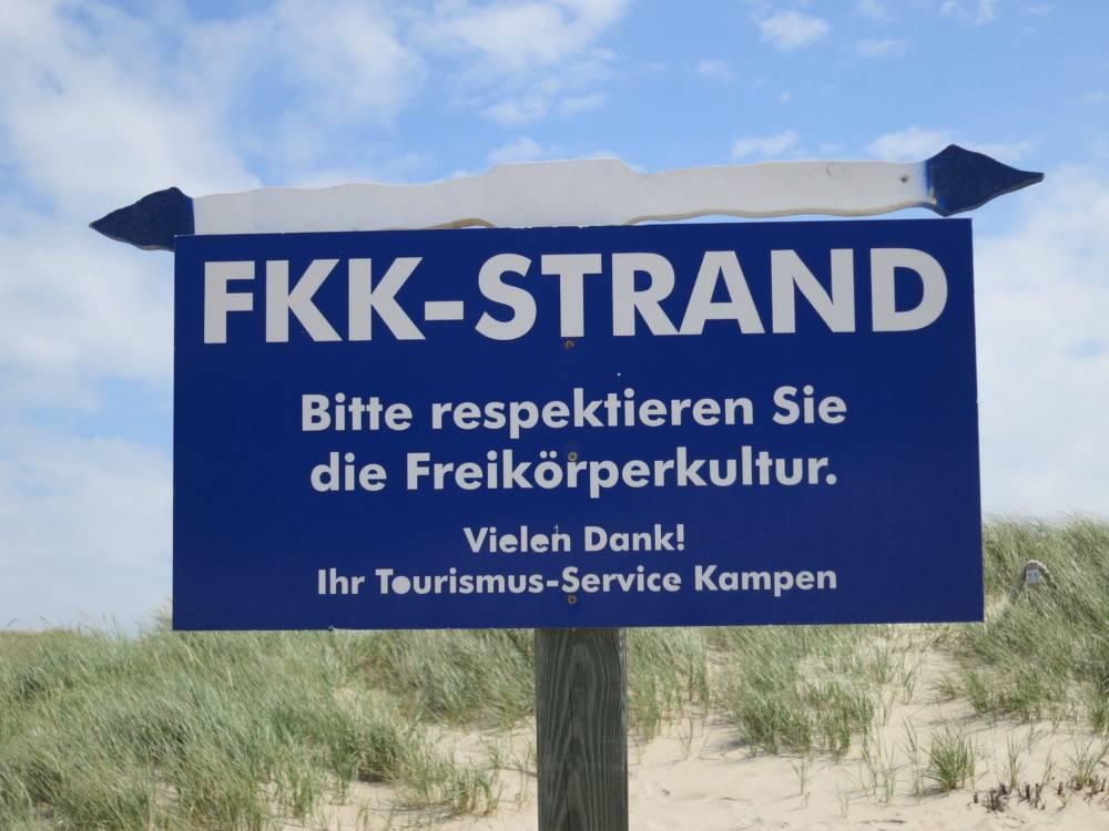 FKK-Schild auf Sylt