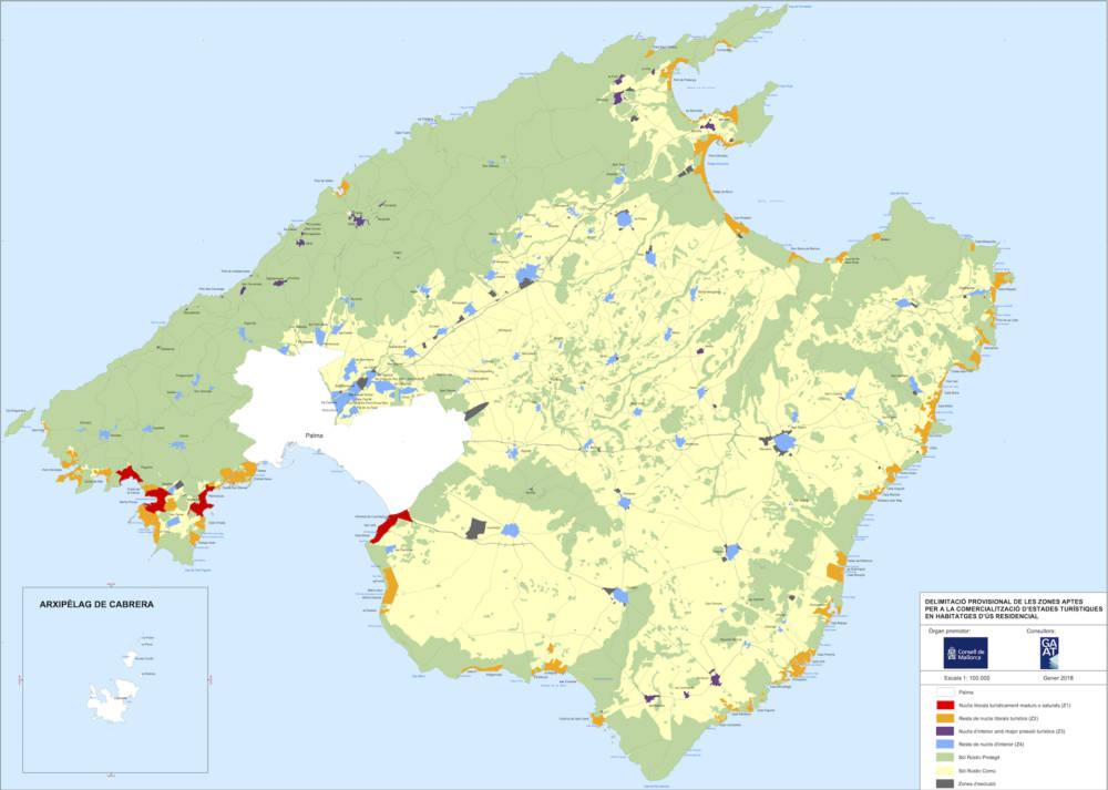 Sieben Zonen Mallorca, vom Inselrat bestimmt