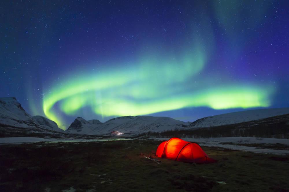 Nordlichter auf dem Königspfad in Schweden