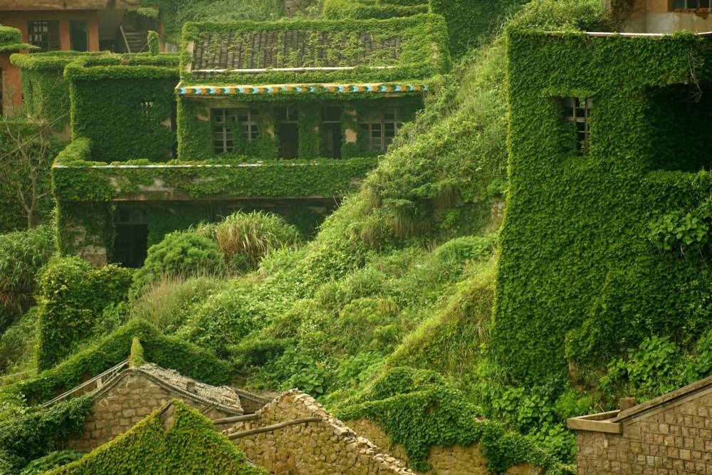 Grüne Häuser, Geisterdorf Houtouwan auf der Insel Shengshan
