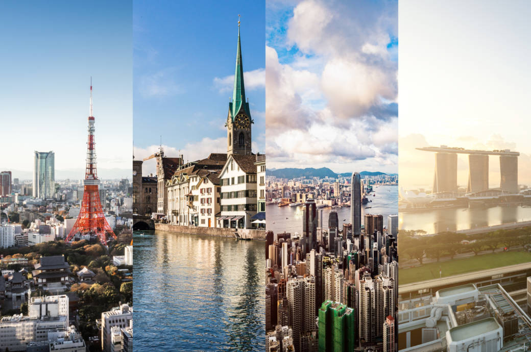 Tokio, Zürich, Hongkong und Singapur