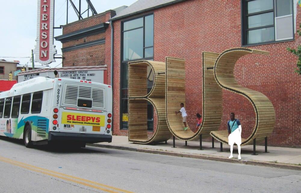 Bushaltestelle an der S. East Street in Highlandtown in Baltimore