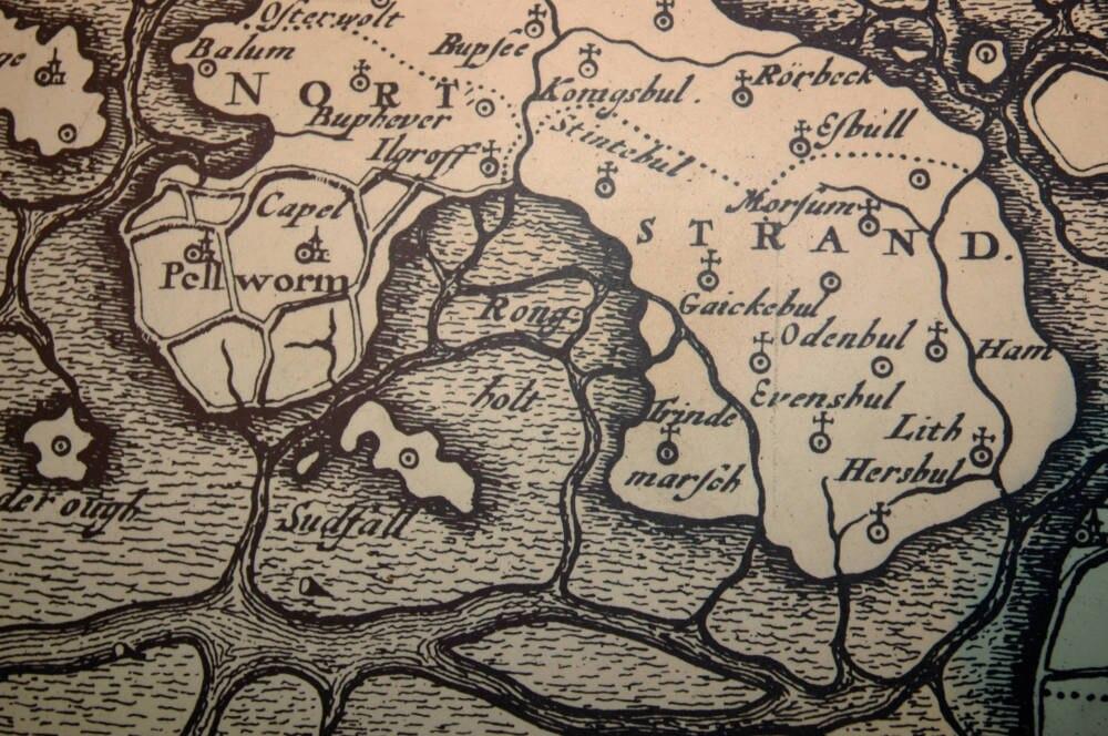 Karte der versunkenen Siedlung Rungholt