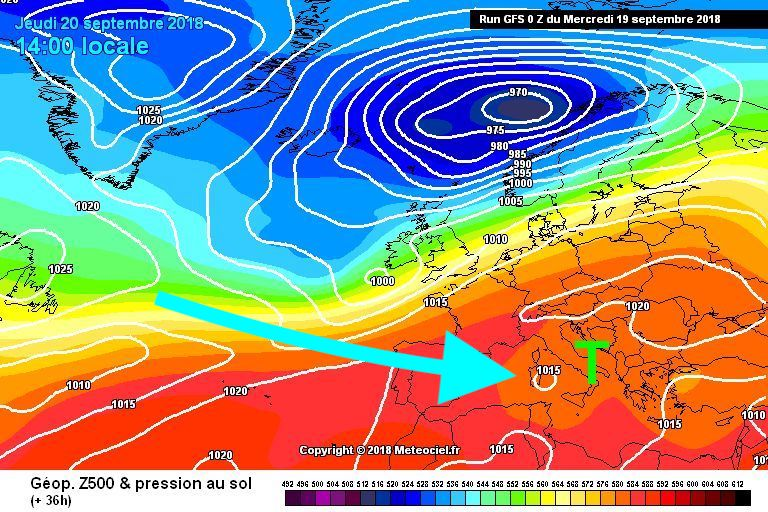 Auf dieser Wetterprognose von Donnerstag sieht man bei Sizilien das Sturmtief