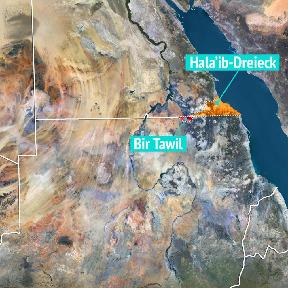 Bir Tawil und Hala'ib-Dreieck auf der Landkarte