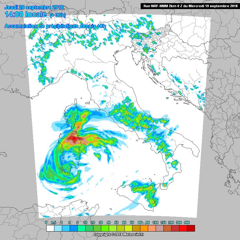 Bei dem Regenmodell für Donnerstag ist deutlich zu sehen, dass starker Regen für die Region vorhergesagt wird