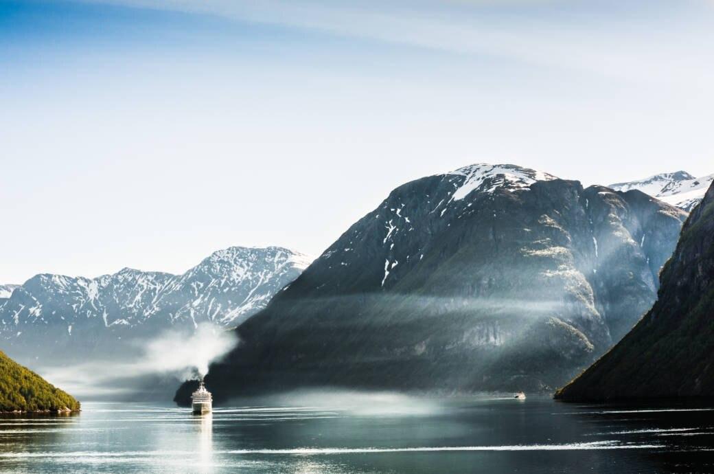 Große Kreuzfahrtschiffe wie dieses am Geiranger Fjord sind in Bergen bald nicht mehr erwünscht