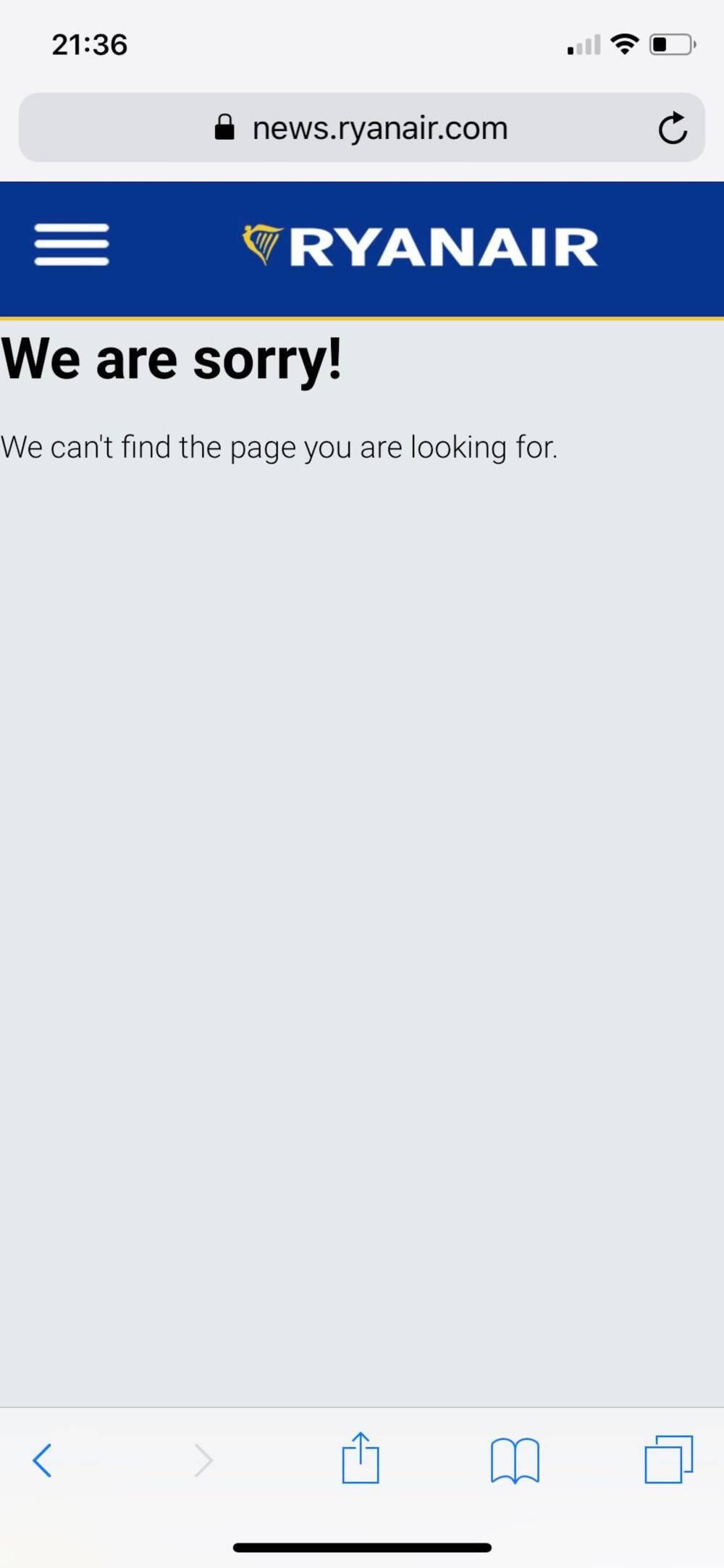 Ryanair-Webseite funktioniert nicht