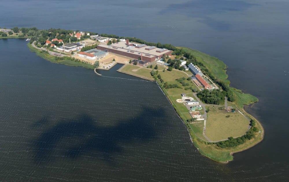 Luftaufnahme der Insel Riems