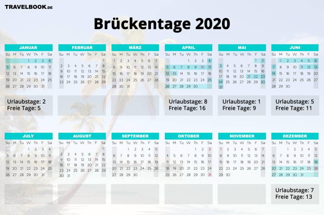 Brückentage 2020 Maximal Urlaub Rausholen Mit Kalender Travelbook