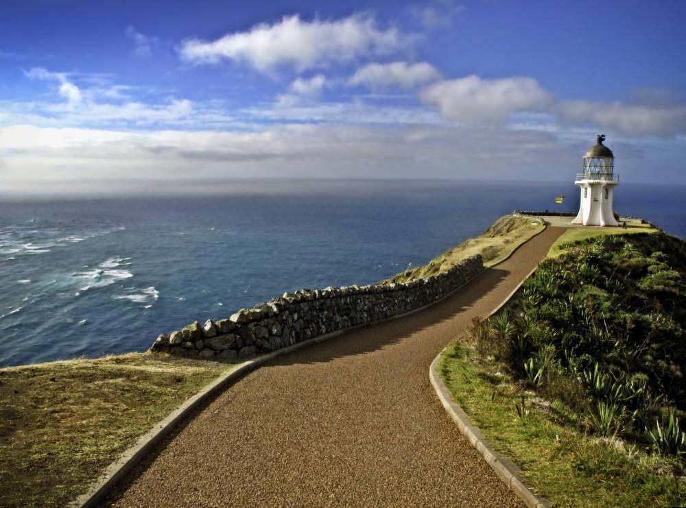 Ein einsamer Leuchtturm steht am Cape Reinga