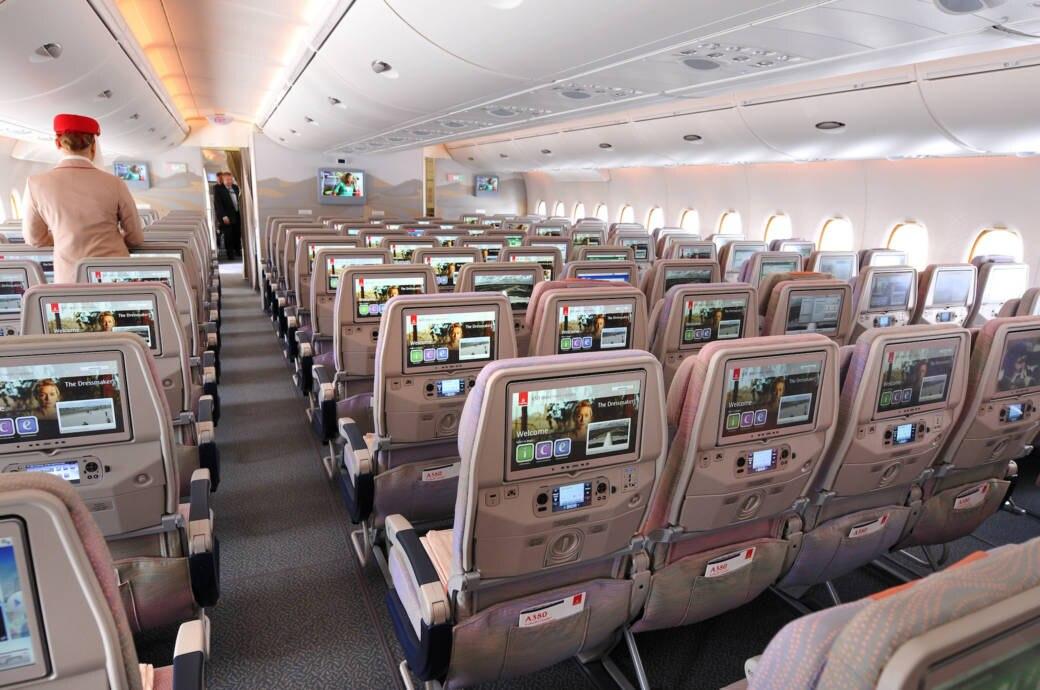 Auch bei Emirates Kameras in den Sitzen installiert!