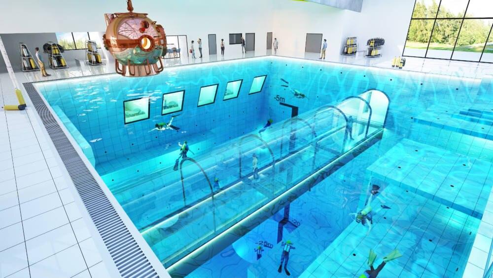 In den Pool wird auch ein Unterwasser-Tunnel integriert