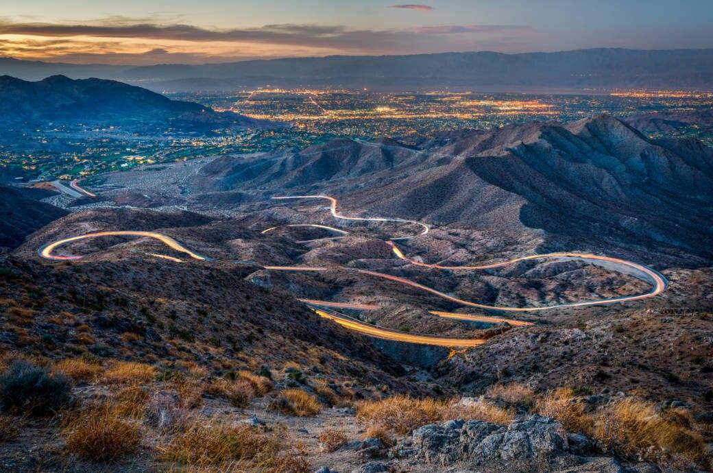 Blick auf das vom Highway 74 durchzogene Coachella Valley in Kalifornien