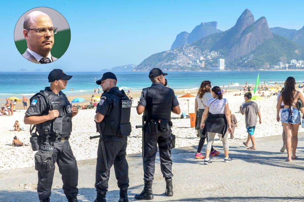 Militärpolizisten am Strand von Ipanema, Gouverneur Wilson Witzel