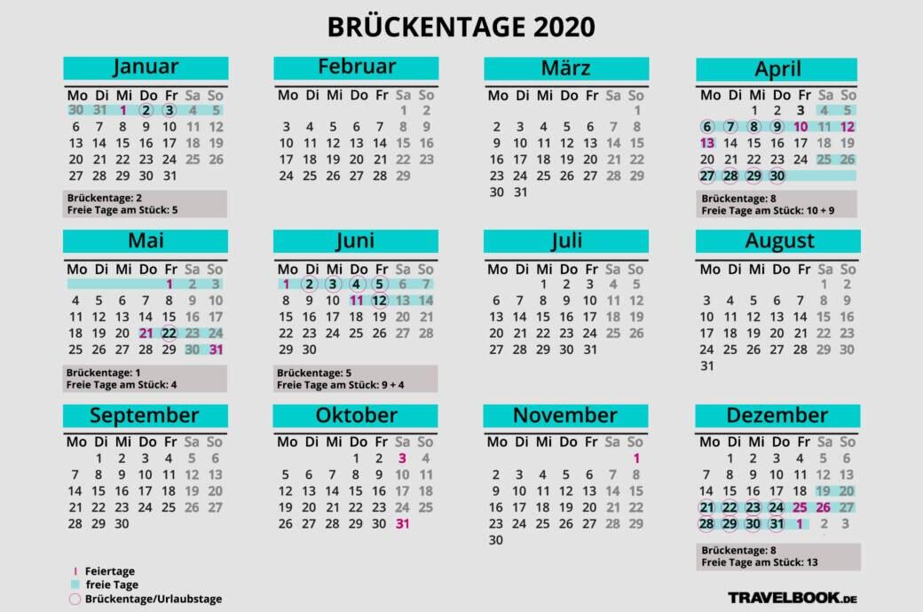 br ckentage 2020 maximal urlaub rausholen mit kalender. Black Bedroom Furniture Sets. Home Design Ideas