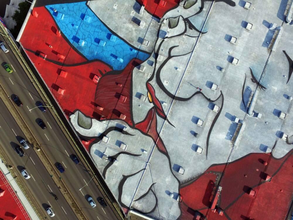 Das Dach des Mural von nahem