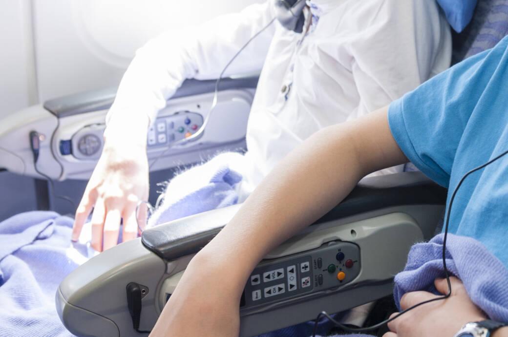 Armlehne im Flugzeug