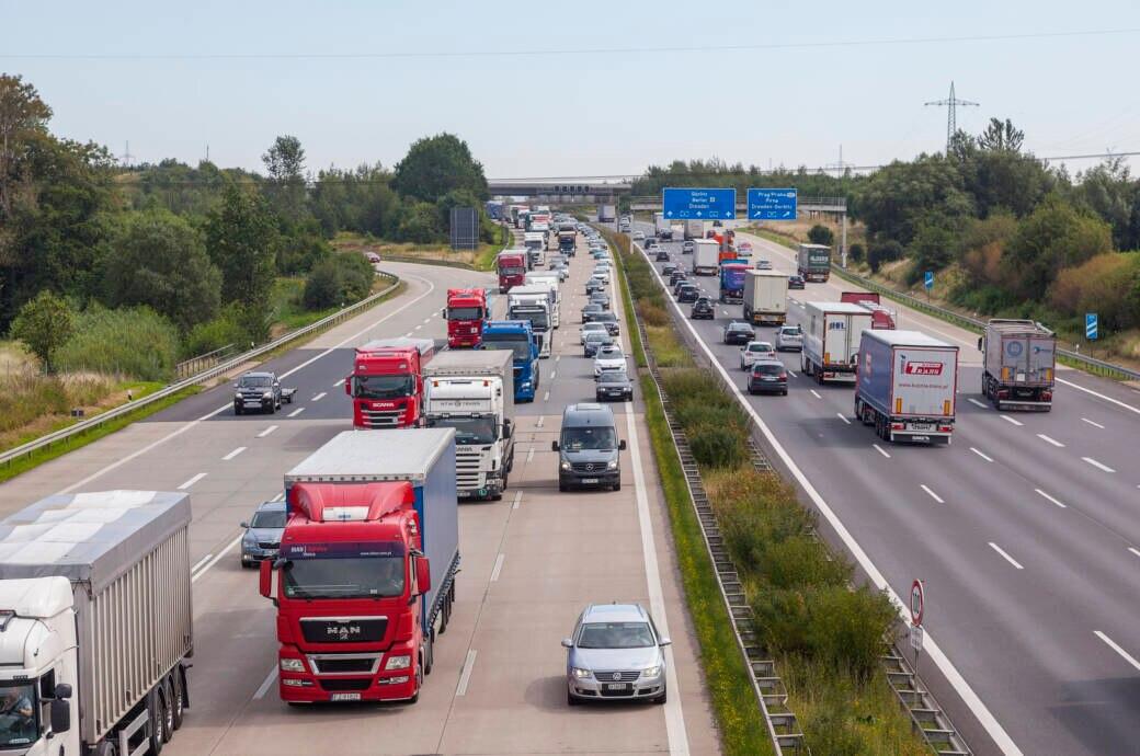 Stau auf einer deutschen Autobahn