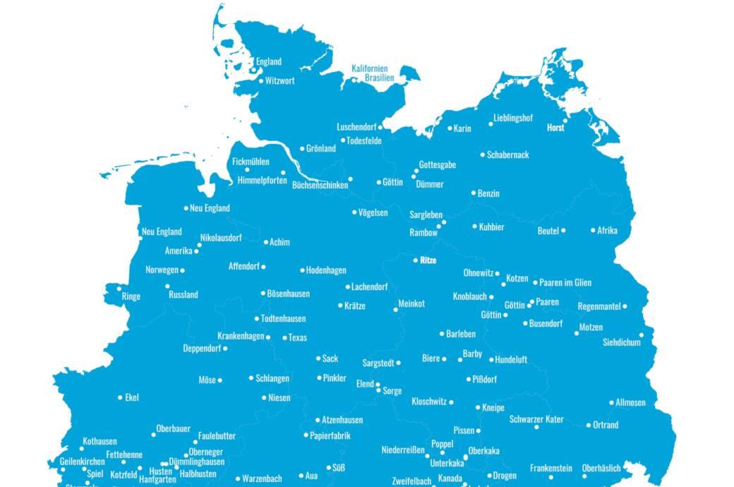 Diese Karte zeigt die witzigsten Ortsnamen in Deutschland