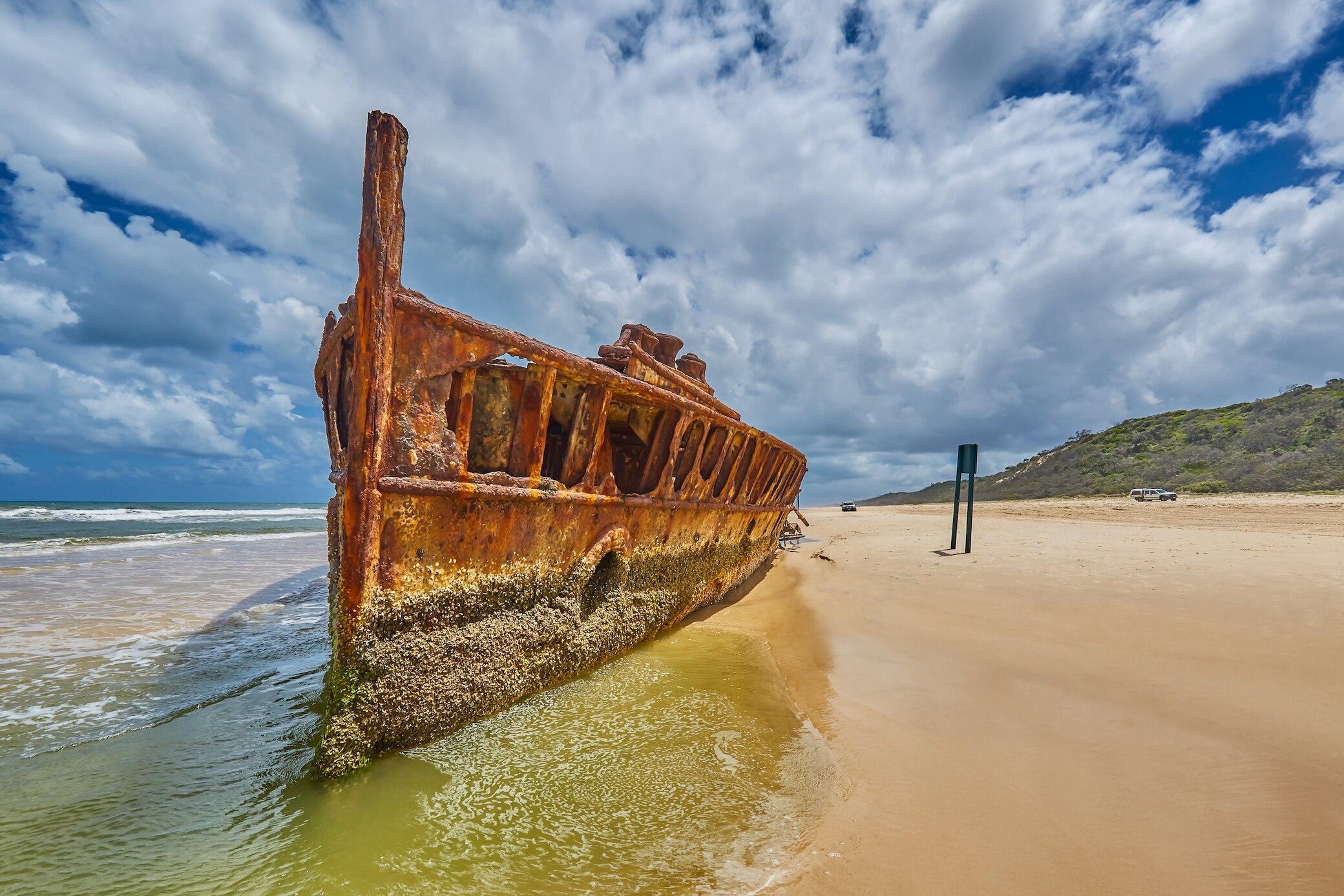 SS Maheno auf Fraser Island in Australien