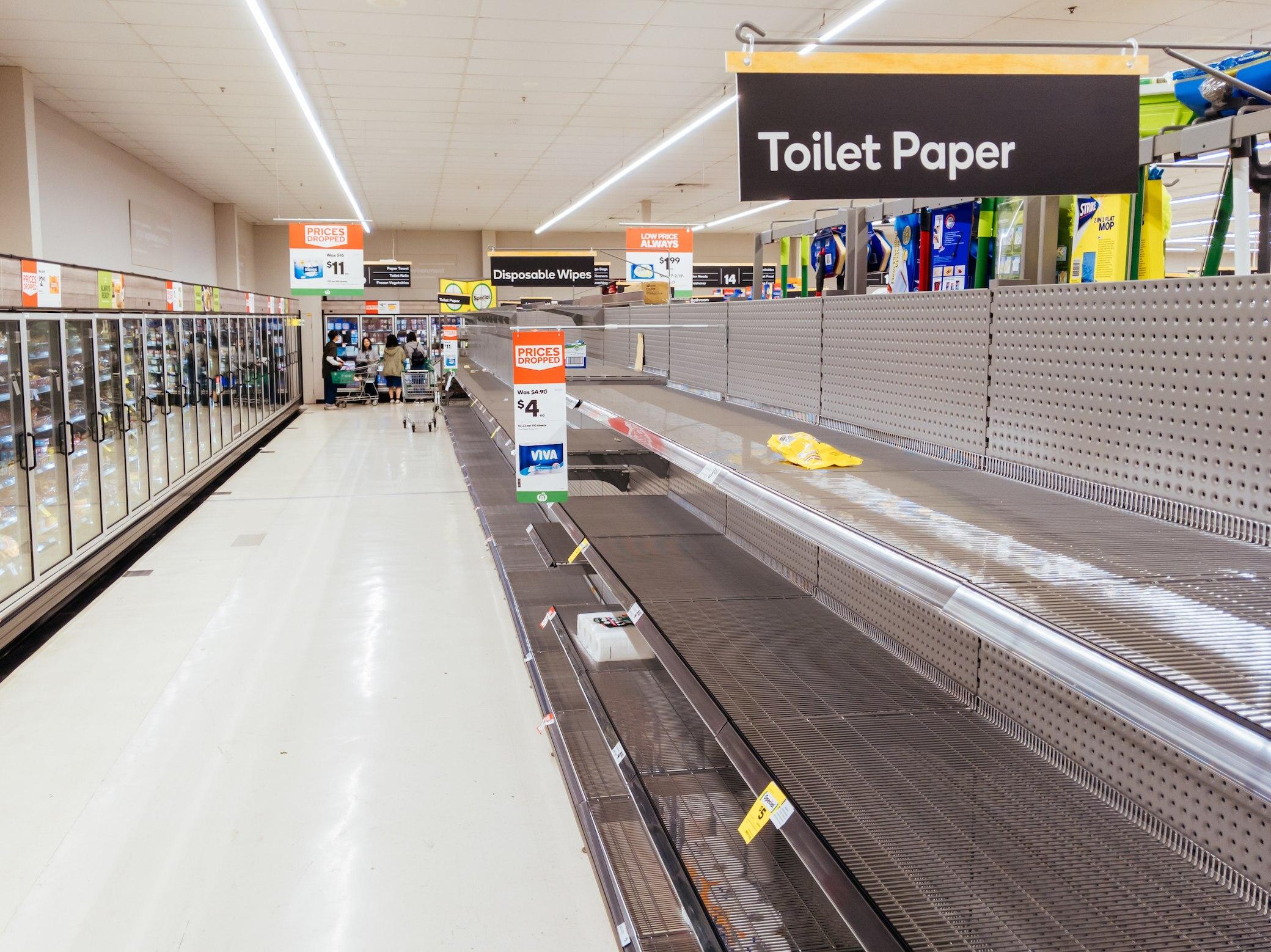 Leere Supermarktregal in Melbourne, Australien