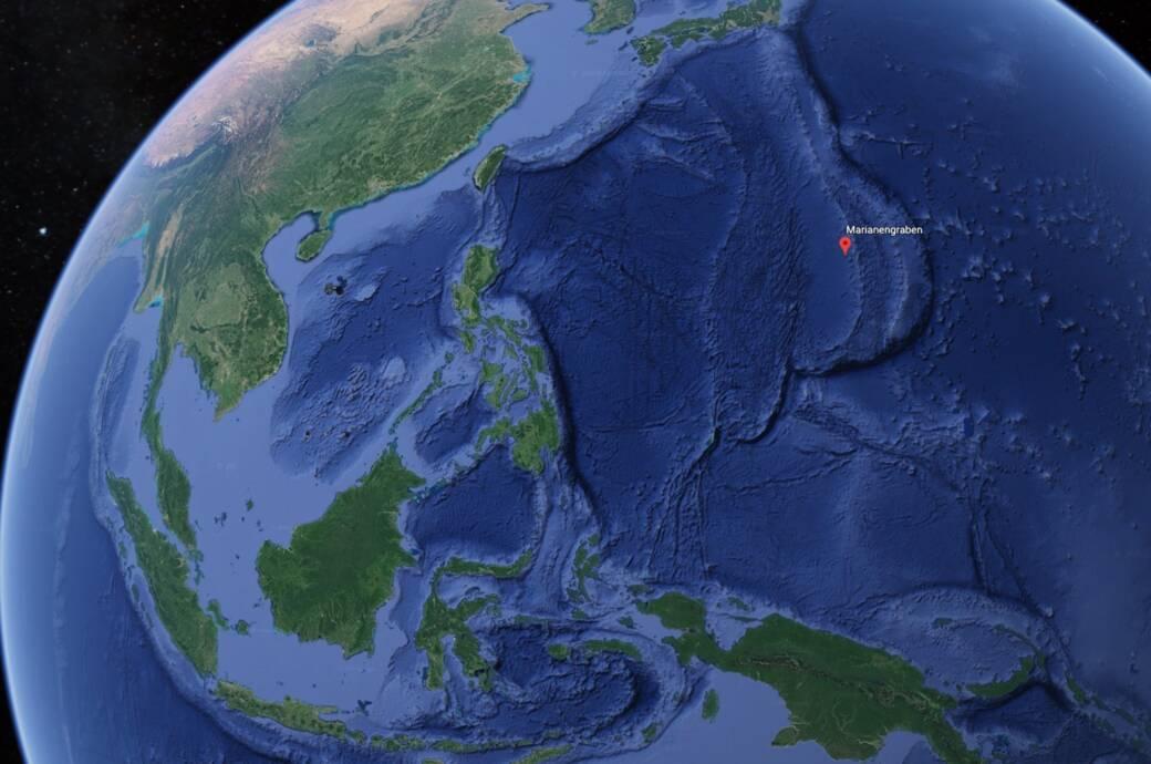 Karte vom Marianengraben