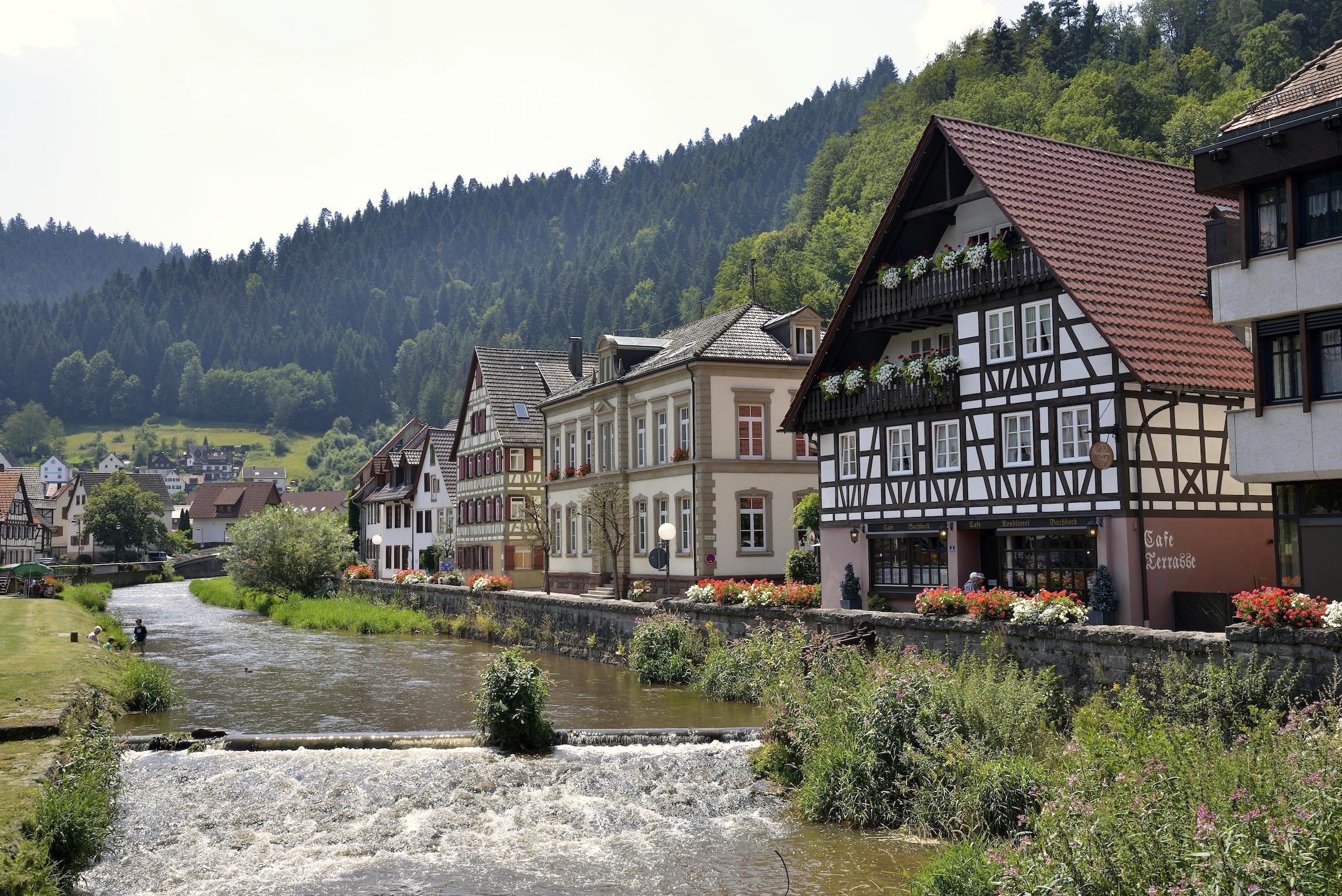 Fachadas de entramado de madera sobre el río Schiltach en la ciudad del mismo nombre en el valle de Kinzig