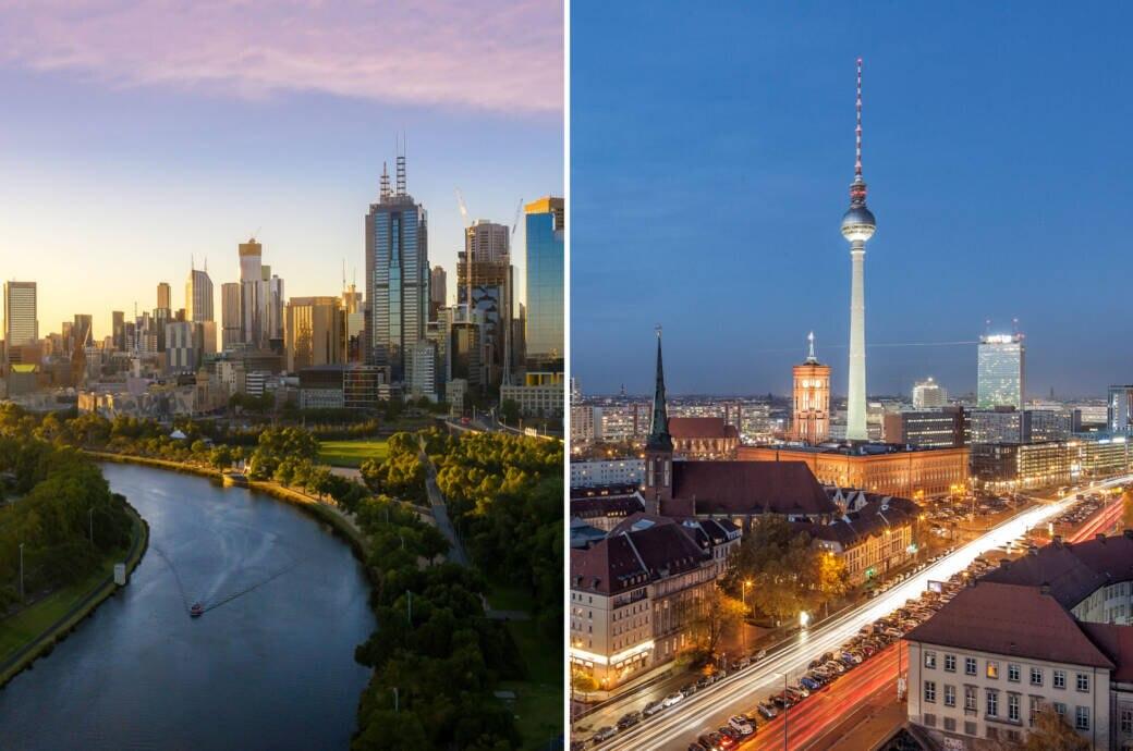 Die Skylines von Melbourne und Berlin