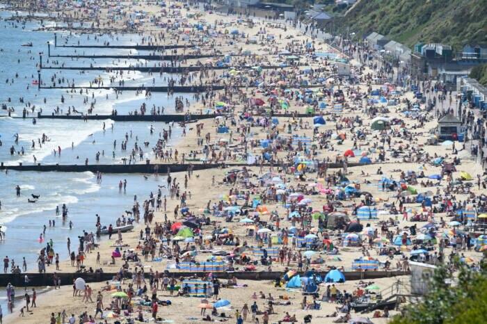 Überfüllter Strand Bournemouth