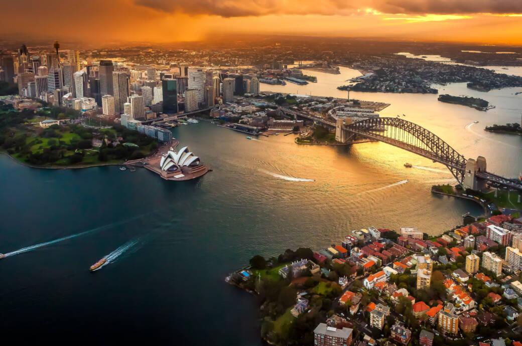 Blick auf Sydney mit Oper und Harbour Bridge