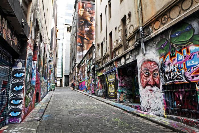 Die Hosier Lane in Melbourne, Australien