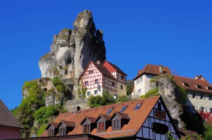 Felsformation in Tüchersfeld, Fränkische Schweiz, Bayern