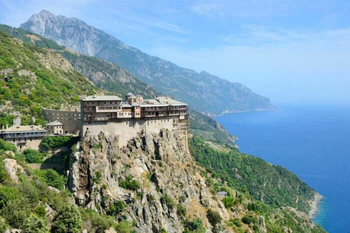 Eines der Mönchsklöster auf dem Berg Athos