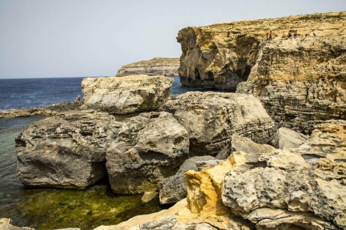 """Die Felsenküste auf Gozo ohne das """"Azure Window"""""""