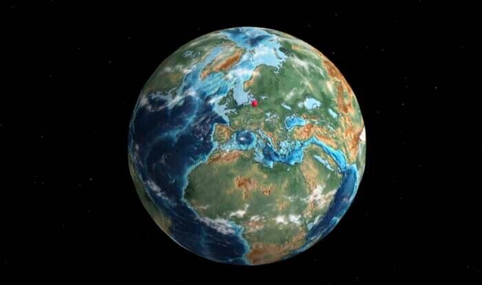 Die Welt vor 35 Millionen Jahren sah schon fast aus, wie heute. Lediglich Norddeutschland ist noch unter Wasser. Der rosa Punkt ist der Standort der heutigen Travelbook-Redaktion.