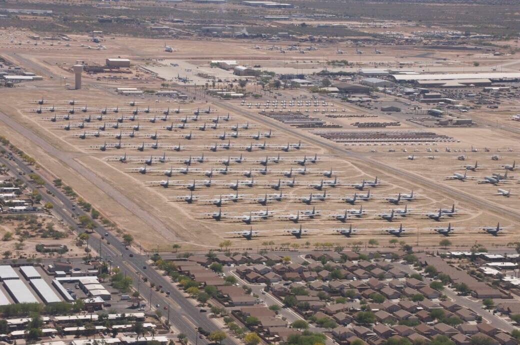 """Der Flugzeugfriedhof """"The Boneyard"""" befindet sich bei Tucson im US-Bundesstaat Arizona"""